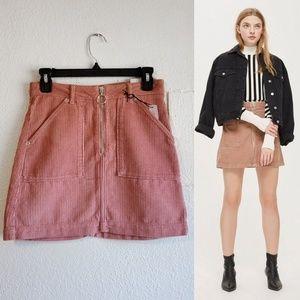 Topshop Corduroy Zip Denim Mini Skirt (NWT)